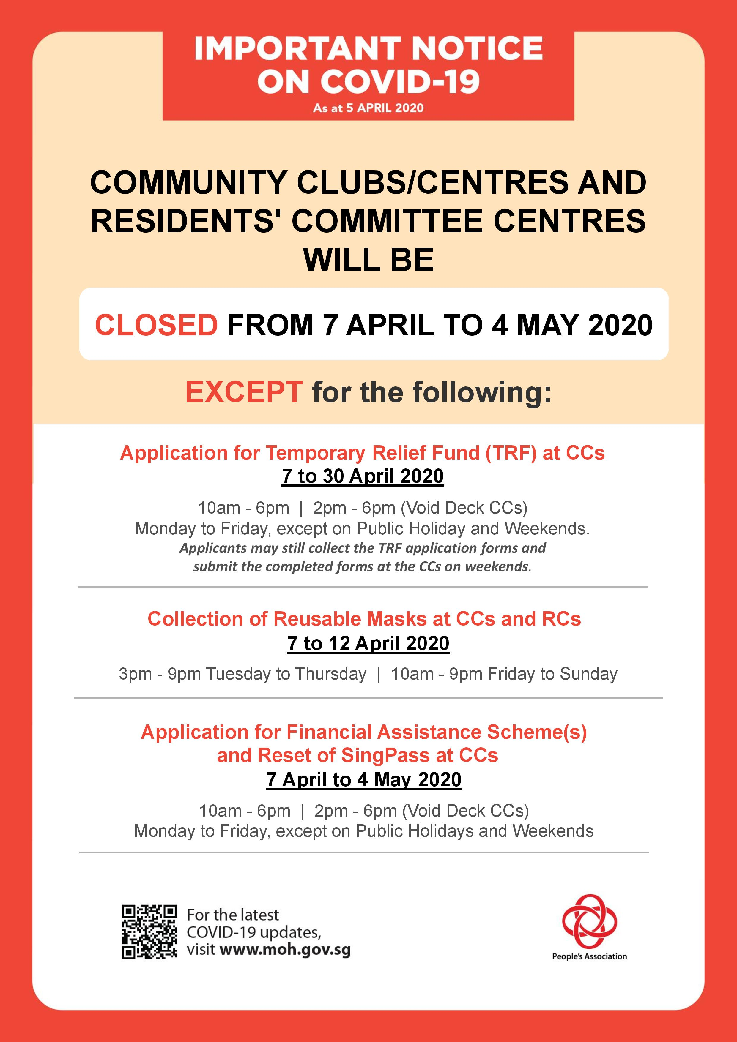 Closure of Community Clubs and Residents' Committee Centres except for application for Temporary Relief Fund, Collection of reusable masks and other essential services
