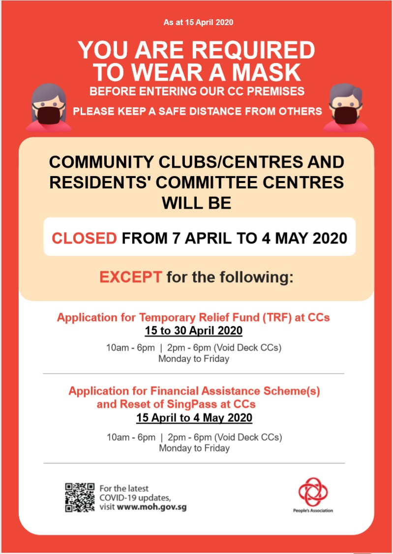 Closure of Community Clubs and Residents' Committee Centres Except for