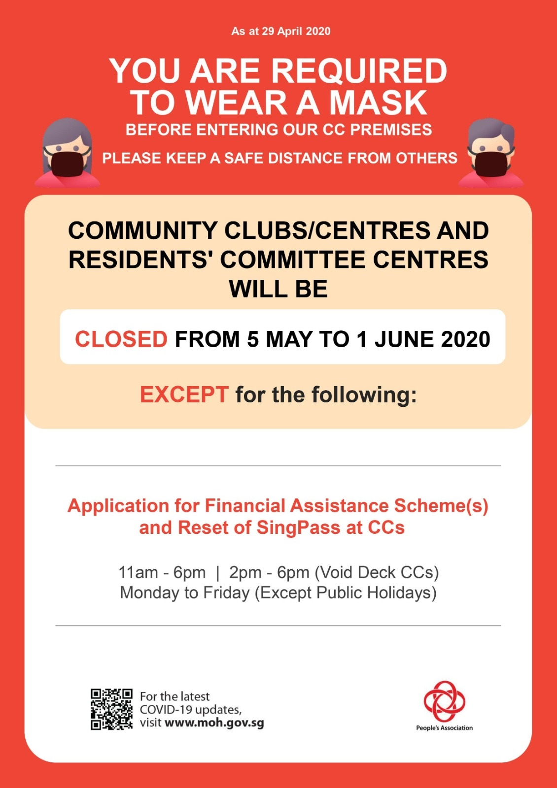 Closure of Community Clubs and Residents' Committee Centres Till 1 June 2020