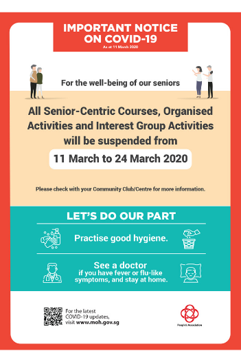 Suspension of Senior-Centric Courses and Activities at CCs and RCs